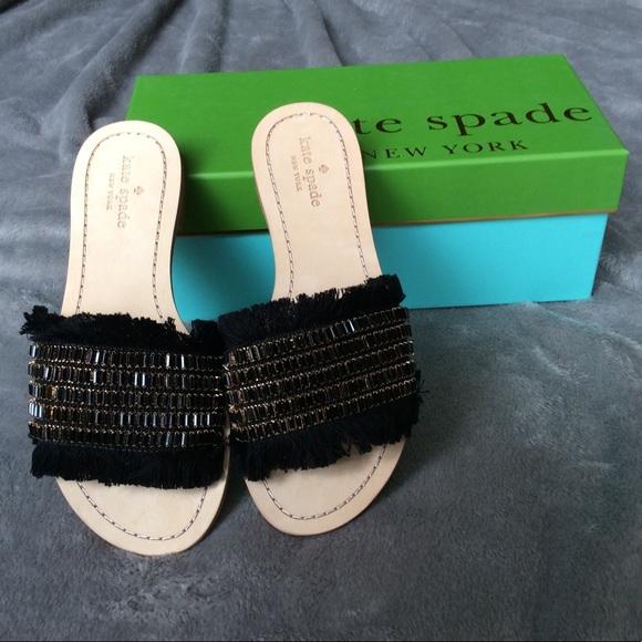 551b2e975867 NIB Kate Spade Solaina Jeweled Raffia Sandal 7.5